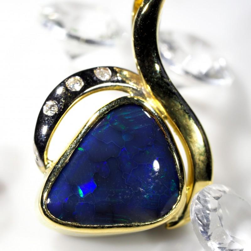 Dark Blue Flash Solid Black Opal 18K Gold Pendant SCO184