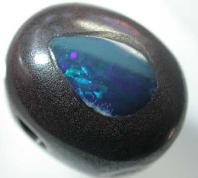 BOULDER OPAL WITH FIREY INLAY  [MB57] 9.90    CTS