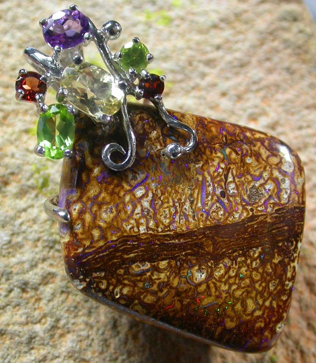 STUNNING  YOWAH  PENDANT WITH  6 NATURAL STONES 66CTS MS1340a-7