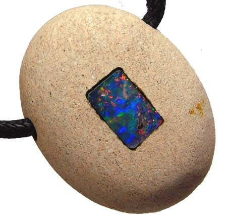 40.60 CTS  QUALITY SANDSTONE  INLAY PENDANT [S1571]