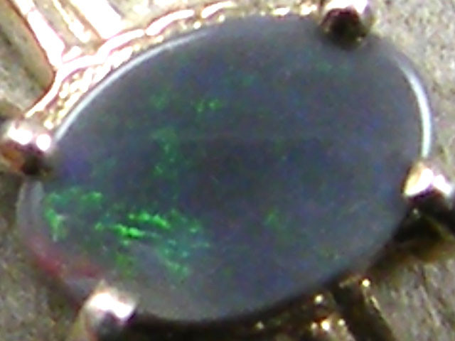 SOLID BLACK  OPAL  SILVER   RING SIZE  6.5  SG125