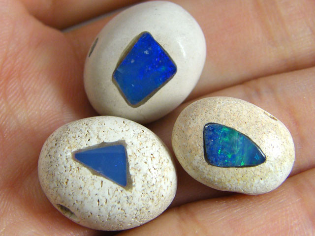 PARCEL  THREE INLAY OPAL BEADS 26.7 CARATS   GTT 702