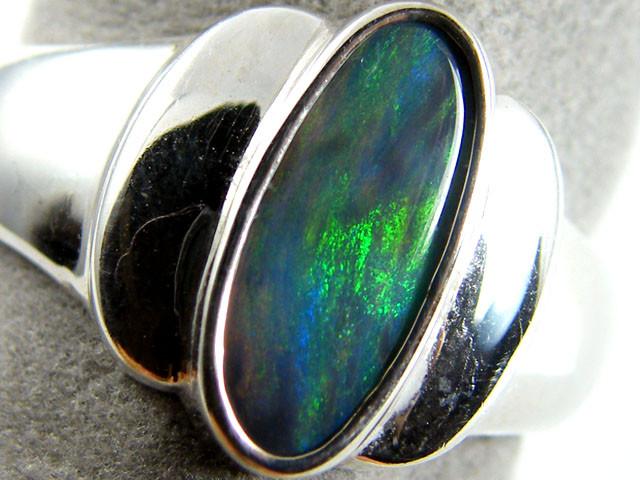 SOLID BLACK   OPAL  IN SILVER RING  SIZE 8  CJ 249