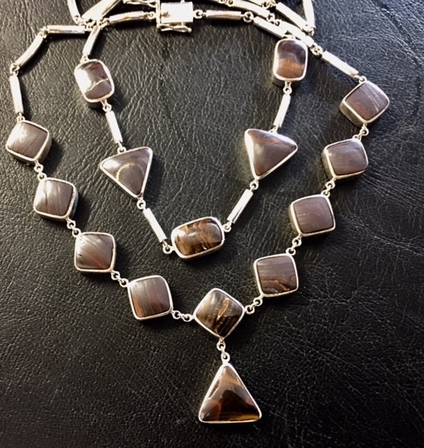 BOULDER OPAL NECKLACE AND   BRACELET SET IN SILVER GTT 809