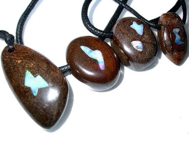 255.10 CTS BOULDER OPAL INLAYED PARCEL -PENDANTS    [BMA3025]