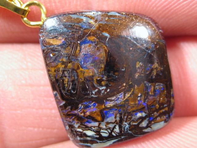 YOWAHOPALS*17.20Cts Necklace- Bright Boulder Opal