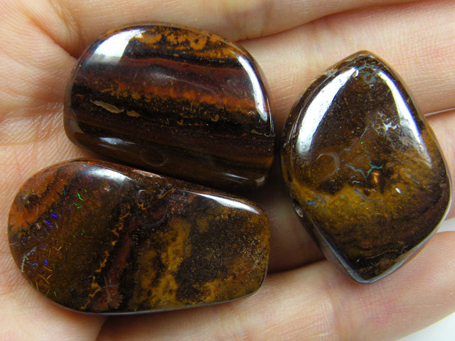 PARCEL THREE BOULDER OPAL  BEAD  146CTS  MM 1488