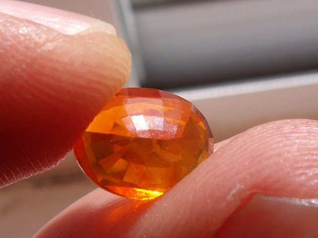 FreeForm Faceted Mexican Fire Opal 1.81 Carats.