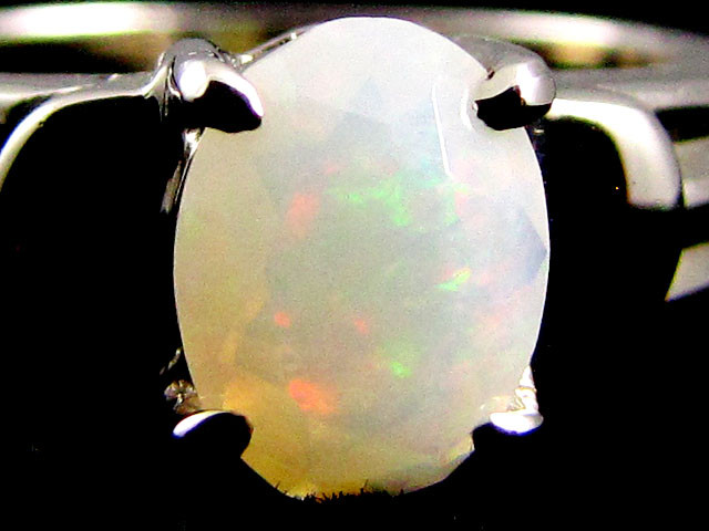 FACETED CRYSTAL  OPAL 18K  WHITE GOLD RING SIZE7  CJ 828