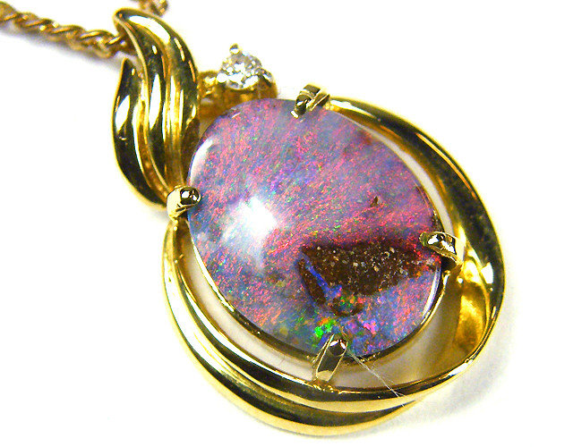 DIAMOND N BOULDER  OPAL 18K  GOLD PENDANT CJ 1146