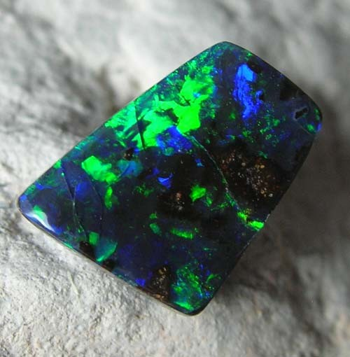 SOLID BOULDER OPAL rich electric green (bbo155)