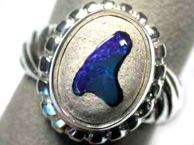 NEW LARGE OPAL ART SILVER RING SIZE 9 1/2 L2421