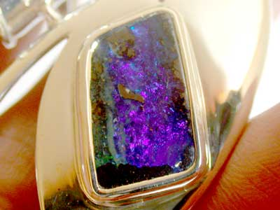 F/S BEAUTIFUL NATURAL BOULDER OPAL  SILVER PENDANT L2527