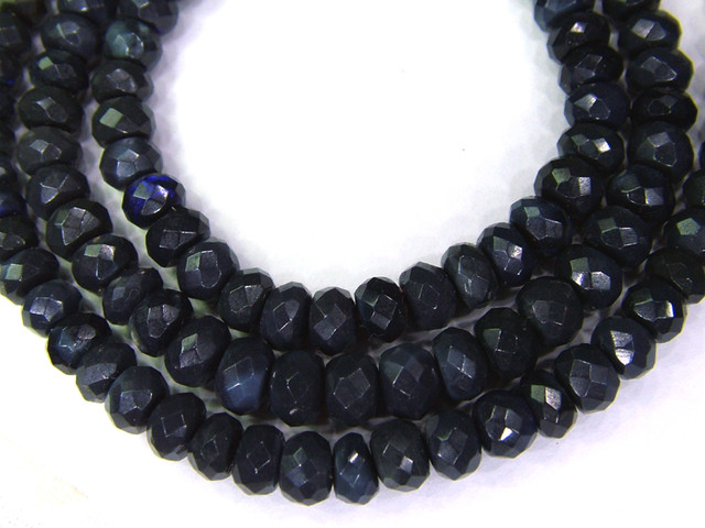 RARE HAND FACETED BLACK OPAL BEADS  57.80 CTS  AS-A738