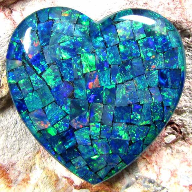 GEM MOSAIC OPAL MEDIUM  HEART   SHAPE 39 CTS    JO 1671