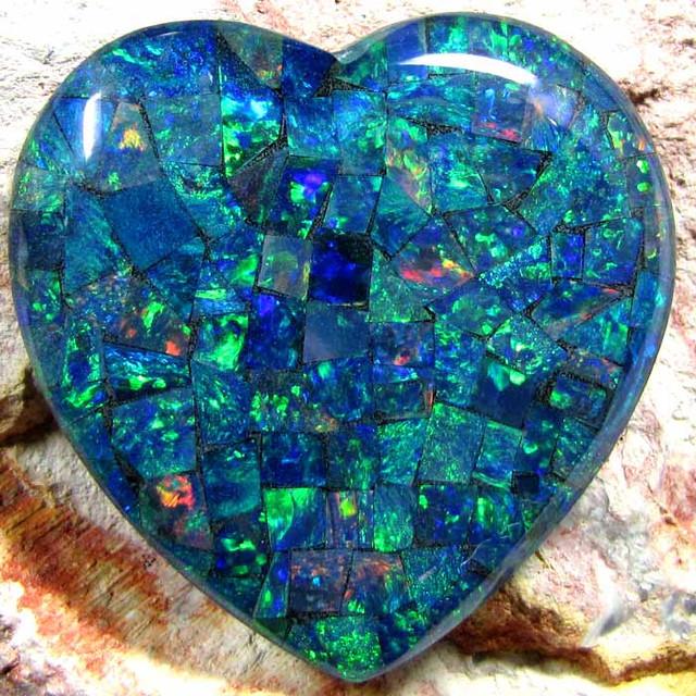 GEM MOSAIC OPAL MEDIUM  HEART   SHAPE 39 CTS    JO 1675