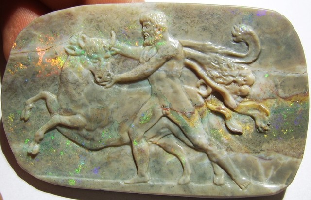 115ct CARVED MATRIX OPAL CAMEO - THE 7th LABOUR OF HERACLES CRETAN BULL