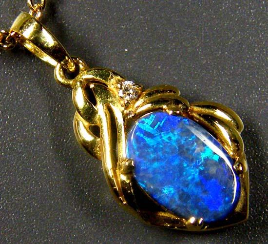 Deep Blue Fire Solid Black Opal 18K Gold Pendant SCO88