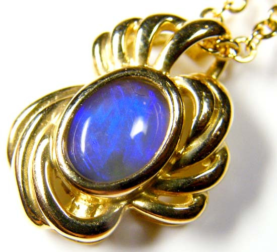 Unique Design 18K Gold Pendant Solid Black Opal SCO78