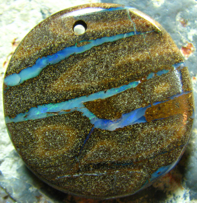 POLISHED BOULDER OPAL - DRILLED- FOR PENDANT USE 71.10 CTS A5699