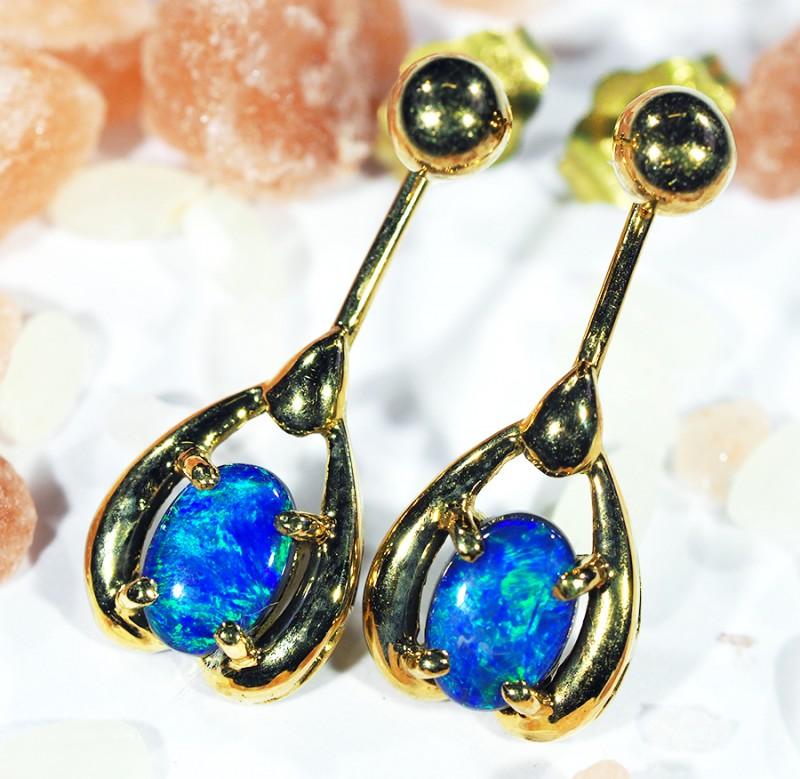 DOUBLET OPAL 18K GOLD EARRINGS CJ1687