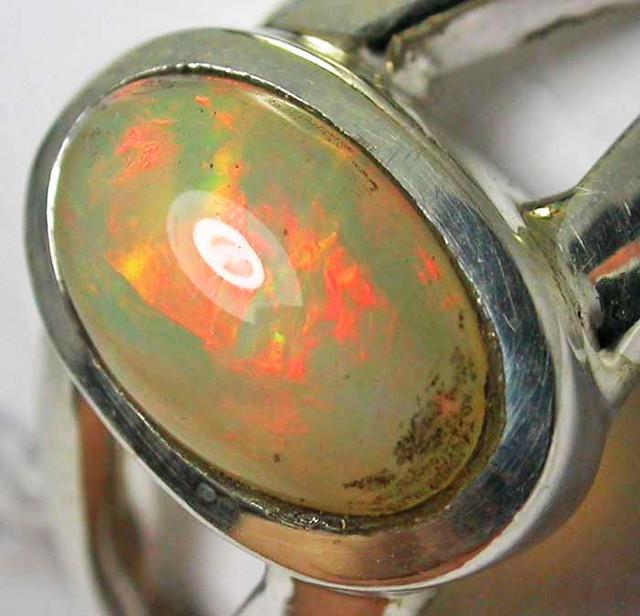 FIREY WELO OPAL SILVER RINGS 26.70 CTS SIZE 10 [SOJ55]