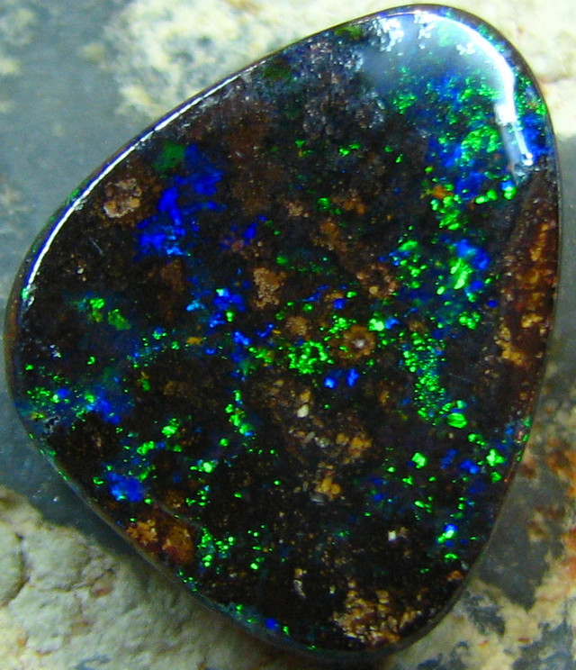 PINFIRE GREEN BRIGHT NATURAL BEAUTIFUL BOULDER OPAL 6.40 CTS A7178