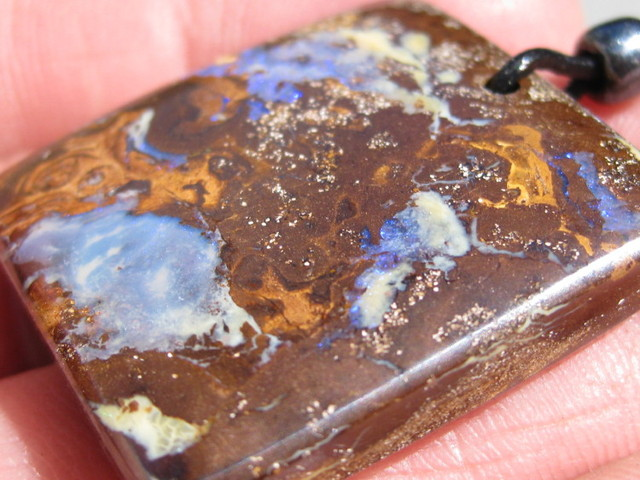 Drilled Boulder Matrix opal with 85cm Natural Leather Necklace.