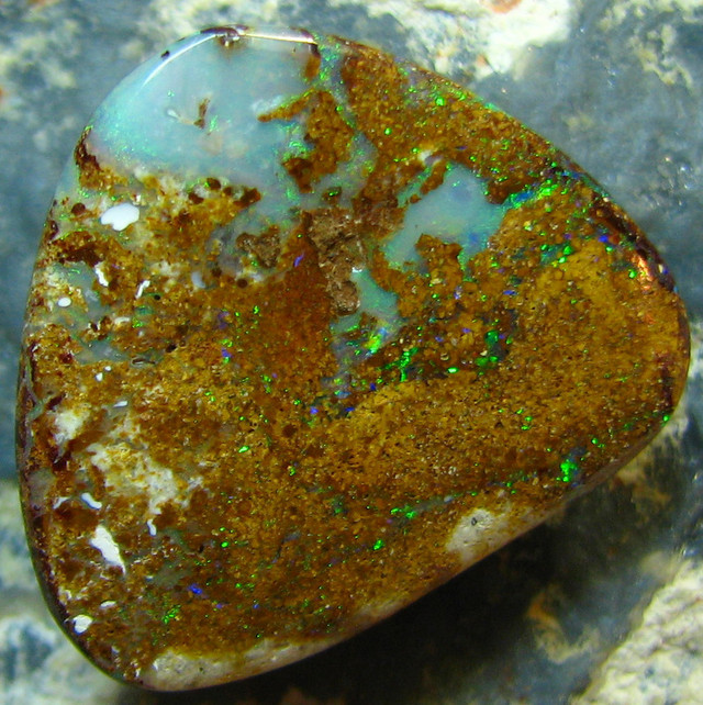 NATURAL BEAUTIFUL BOULDER OPAL 14.05 CTS DOUBLE SIDED A7351