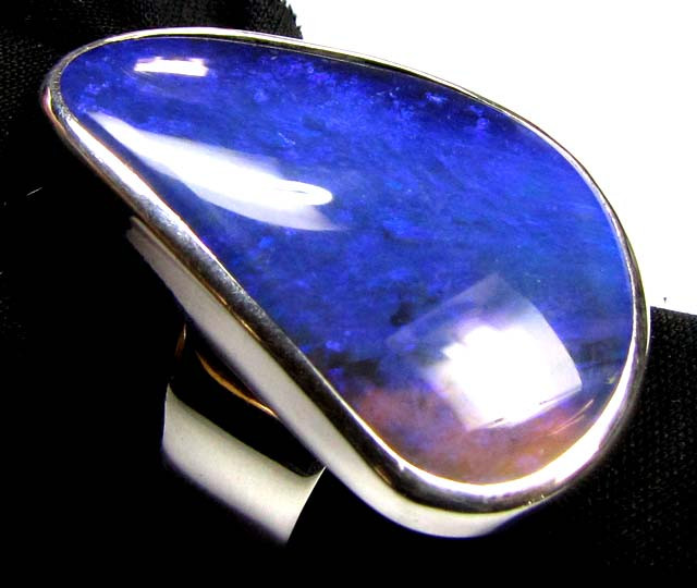 LARGE BLUE BLACK OPAL SILVER RING SIZE 7 CJ1775