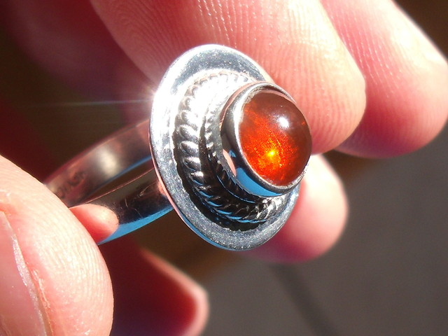 Size 6.75 Natural Cherry Opal Silver Ring New Jewelry