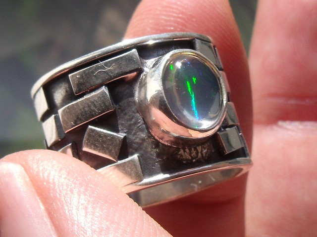 STERLING SILVER RING NATURAL MULTICOLOR FIRE OPAL SZ 7.5
