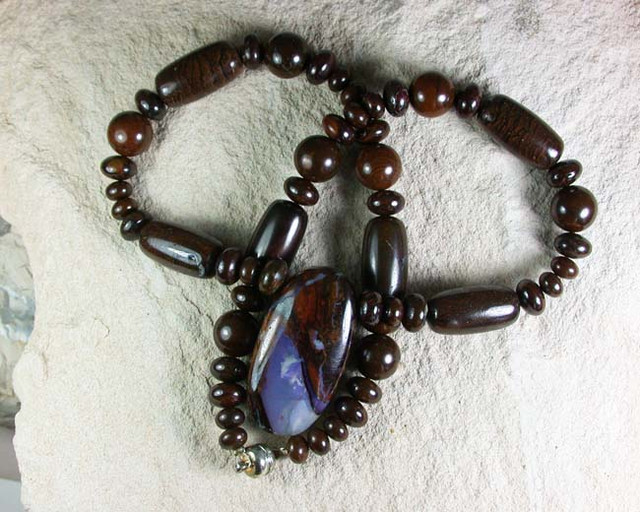 BOULDER OPAL MATRIX/GEMSTONE MIX NECKLACE GMS/08