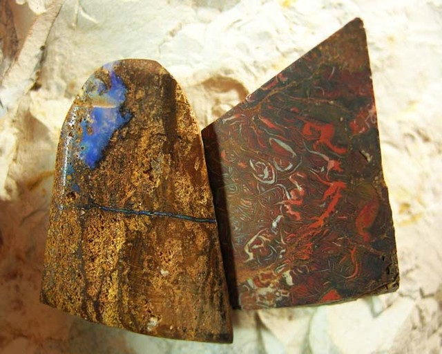 TWO TYPES OF QUALITY ROUGHT UNTOUCHED SPLIT BOULDER OPAL .