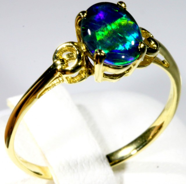 SIZE 7.5 TRIPLET OPAL SET IN 14K GOLD RING CJ912