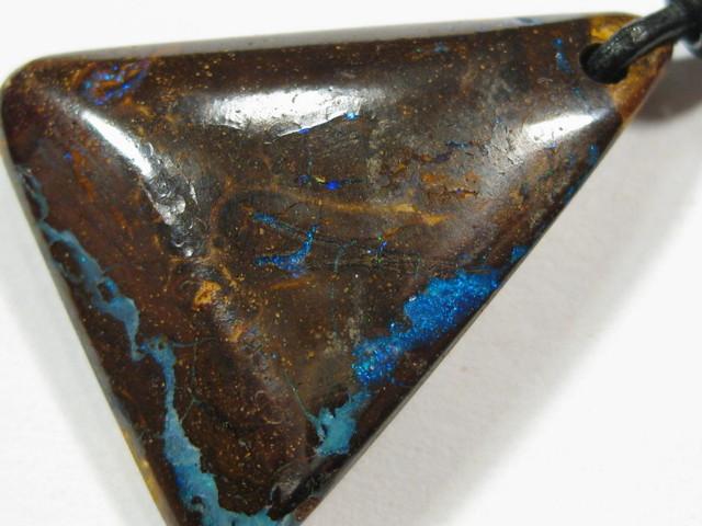 Yowah - Boulder Matrix Opal Pendant with 1.5mm Adjustable Leather cord.