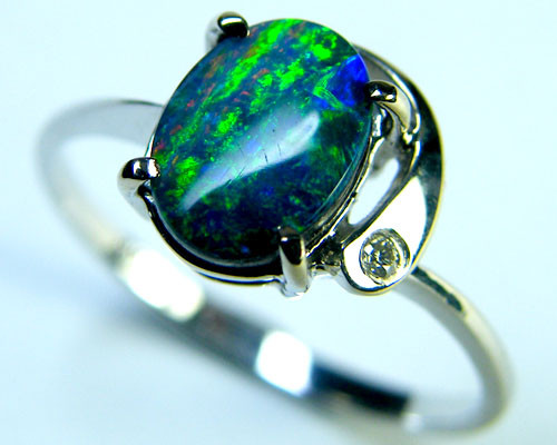 RICH FIRE DOUBLET OPAL 14K WHITE GOLD RING SIZE 6.5 MY90