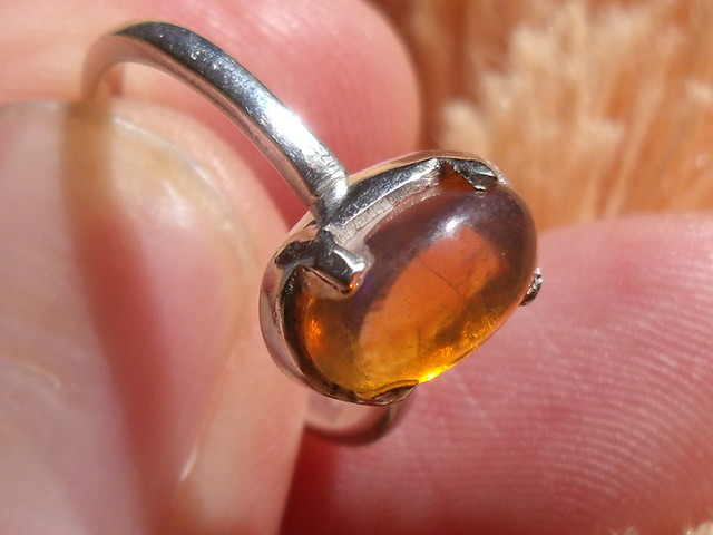 ORANGE OPAL STERLING SILVER RING SZ 5.75