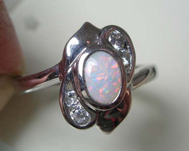 SOLID OPAL 925 SILVER RING SIZE 8 #FR/10