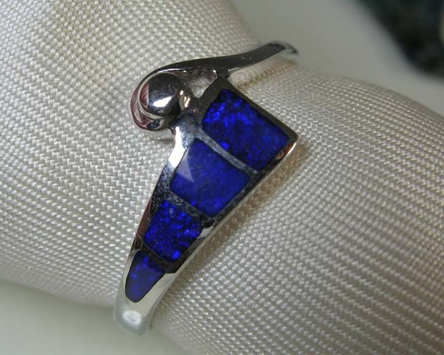 INLAY OPAL 925 SILVER RING SIZE 9.5 #IR/2
