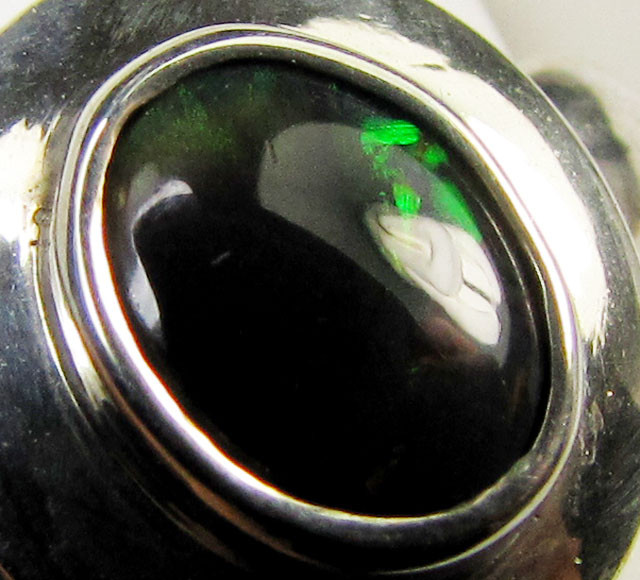 BLACK OPAL VEINS COLOUR  SILVER RING  6.5 CK 28
