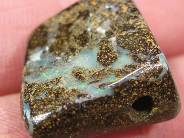 Drilled Boulder opal from Oz.