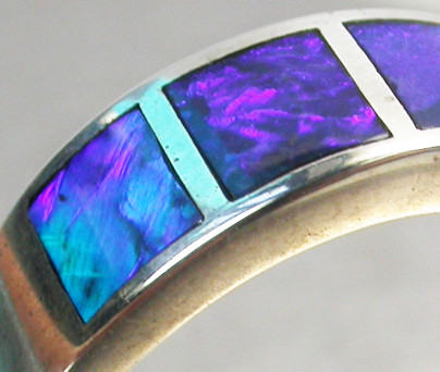 INLYED OPAL RING SIZE 8-9   18 K  WHITE GOLD   CK 229