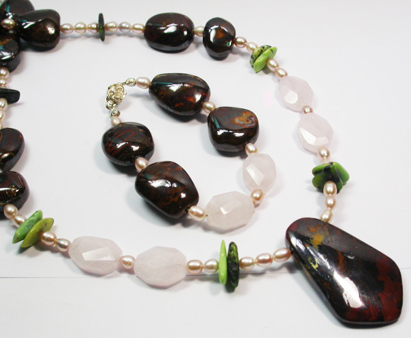 1001.50 CTS BOULDER GEMSTONE NECKLACE  SET[SOJ942]
