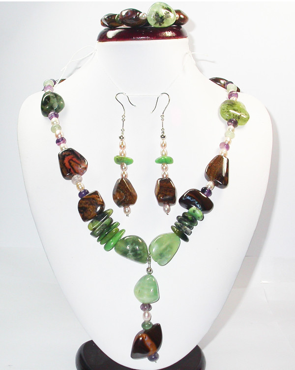 1227.60 CTS BOULDER GEMSTONE NECKLACE/EARRINGS [SOJ943]