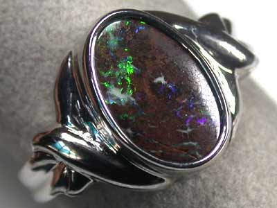 GREEN FLASH BOULDER OPAL  SILVER RING  SIZE 8.5 L2767