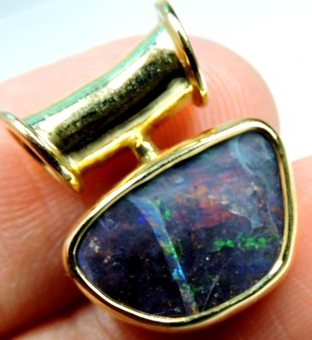 MIXED COLOURS SOLID BOULDER OPAL PENDANT SCO482