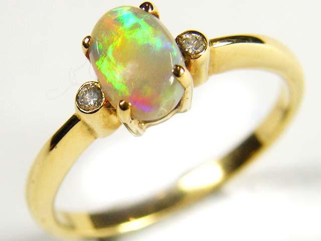 CRYSTAL OPAL 18K  GOLD RING DIAMONDS SCO  580