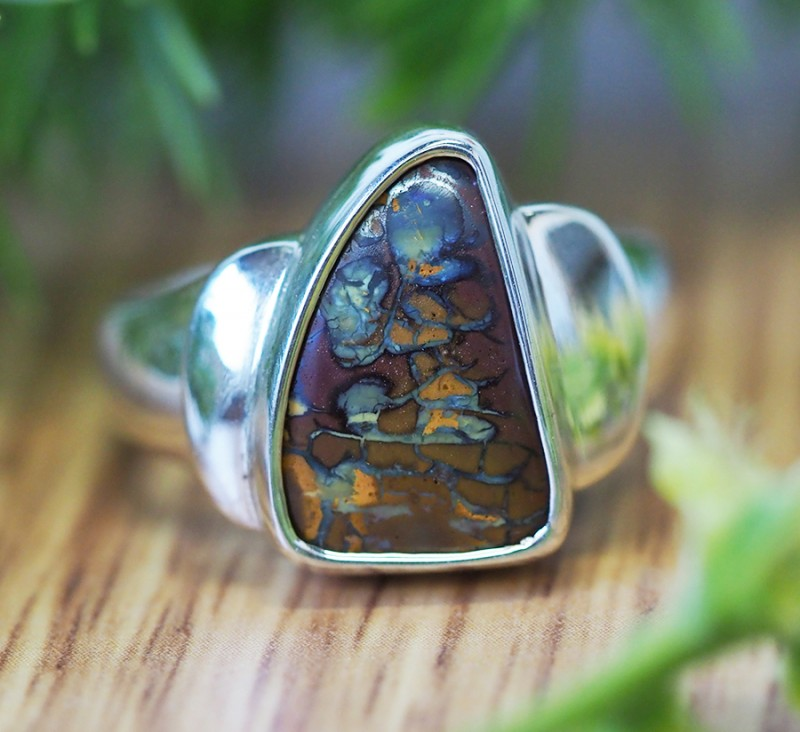 BOULDER OPAL FREEFORM SHAPE RING SIZE 10.5 K295