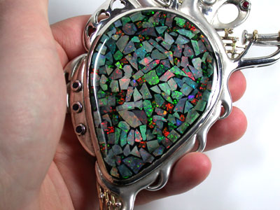 QUALITY  18K PLATED SILVER OPAL NECHLACE  K338